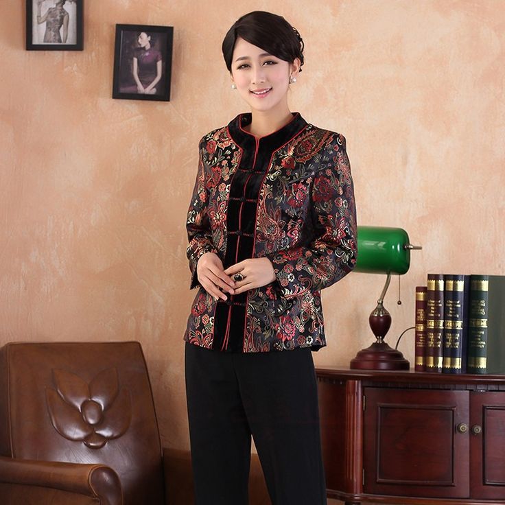 Fantastic Modern V Neck Brocade Chinese Jacket - Red - Chinese Jackets & Coats - Women