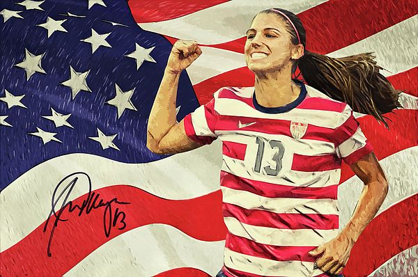 Alex Morgan, Alexandra Patricia Morgan, portrait, illustration, american soccer player, olympic gold medalist, us flag, forward, portland thorns fc, national women's soccer league, nwsl, woman, football, united states women's national soccer team, Seattle sounders women, western new York flash, pali blues, California storm, west coast fc, California golden bears, cypress elite, signature, sports, cool, decorative, home decoration, living room, bedroom, office, striker, Fifa, female athlete