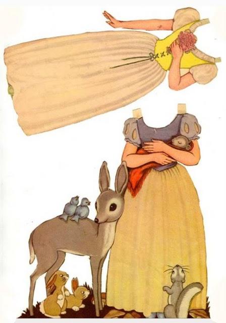 Vintage Disney Snow White Paper Doll: deer dress