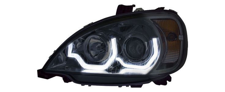Columbia Head Lamp Black Reflector Driver,Lh W/Light Bar Amber/White Led Hi-H1,Low-H7