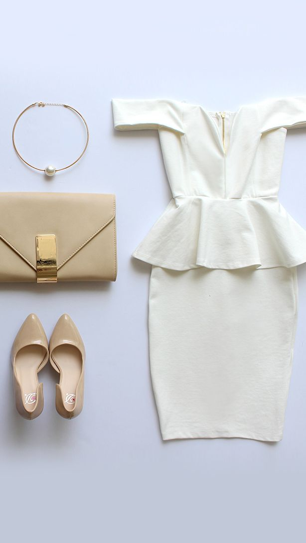 FORMAL. Plain white peplum dress + nude clutch + nude pumps + gold accessories