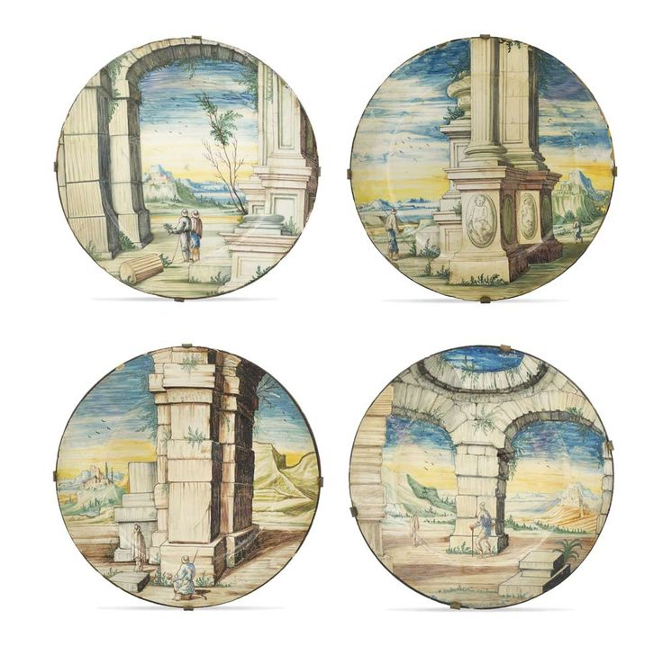LOT 117 A maiolica plates lot (4)  Pavia, fabbrica Rampini around 1700  d. 25 cm.