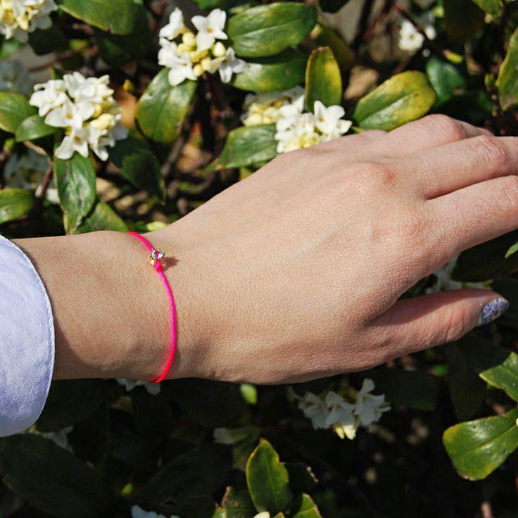 Cristina Zazo SS14, Point bracelet with blue topaz, rose string #cristinazazo #bracelet #bluetopaz