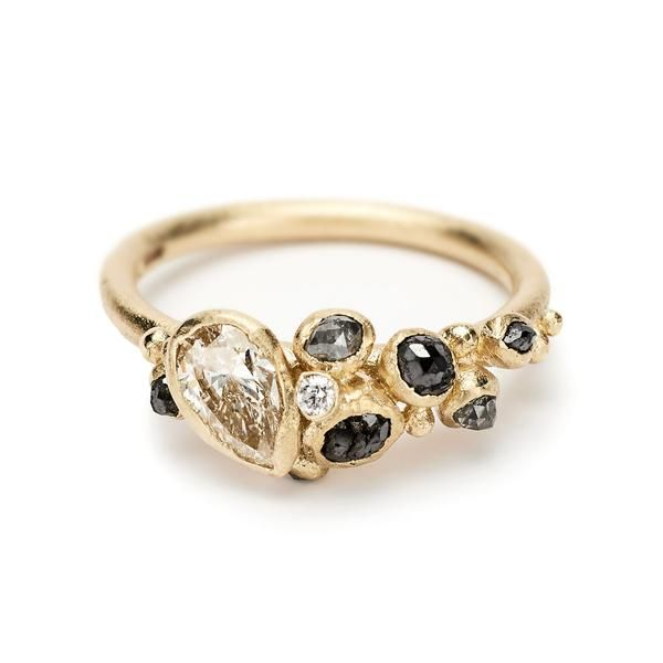 One of a kind diamond cluster engagement ring from Ruth Tomlinson