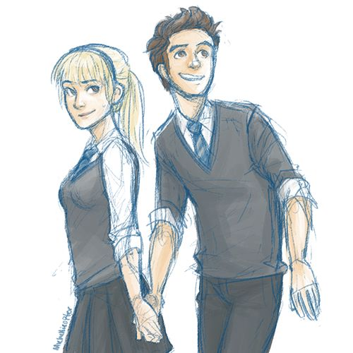 Peter Parker and Gwen Stacy at Hogwarts :)