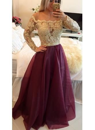 USD$179.00 - Newest Appliques A-line Off-the-shoulder Evening Dress 2016 Long Sleeve - www.27dress.com