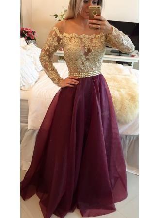 USD$179.00 - Newest Appliques A-line Off-the-shoulder Evening Dress 2016 Long Sleeve - www.27dress.com