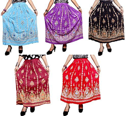 5Pcs 100pcs Embroidered Work USA Boho Medium Skirts