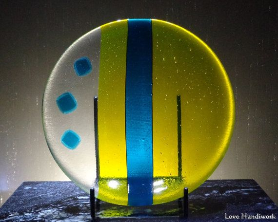 Yellow Slumped Fused Glass Bowl with Teal Accents by LoveHandyWork