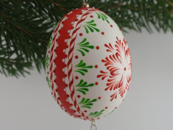 Christmas Ornament on Chicken Egg Wax Embossed Egg by EggstrArt, $24.95