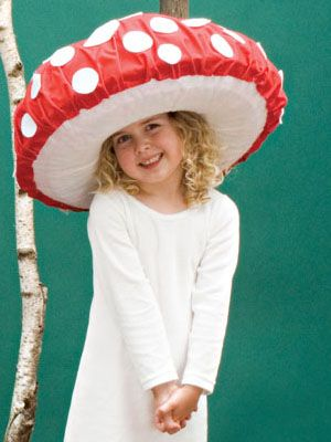 Dotty toadstool. This can be worn whatever the weather! I plan to use the suggested tip to add bubble wrap tentacles and make it a jellyfish, my daughter's favourite creature.