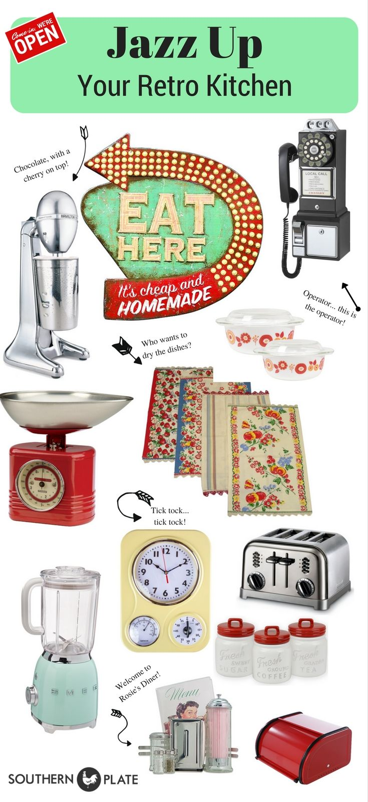 Retro Kitchen Decor Roundup! ~ http://www.southernplate.com