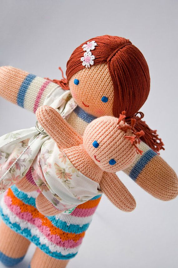 @Leigh Pennebaker -- Thought of you when I saw this  Babywearing Mommy Doll with a Baby Doll  knitted play by FrejaToys, $42.00