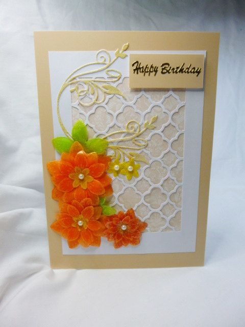 Birthday card, Greeting card, female, orange parchment flowers, Mum, Daughter, Sister, Niece, Aunt