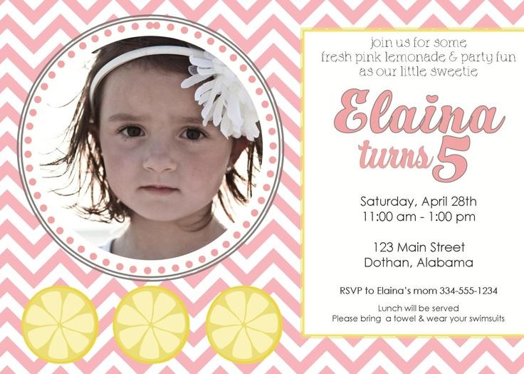 29 best Lemonade Stand Ideas images on Pinterest Lemonade - fresh birthday invitation baby girl