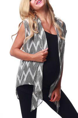White Chevron Print Sheer Maternity Vest