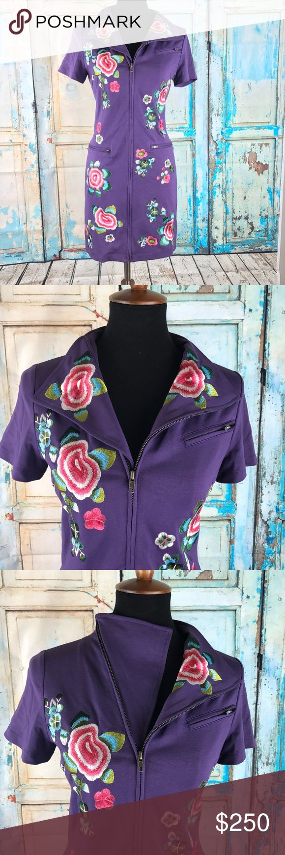 """KENZO Embroidered Dbl Purpose Neck Line Sz M $545 KENZO Embroidered Flower Dress 100%  Double Purpose Neck Line Sz M $545  Measurements Laying Flat and Unstretched:  Armpit to Armpit: 17"""" Length 35""""   Inventory# W2 Kenzo Dresses Midi"""