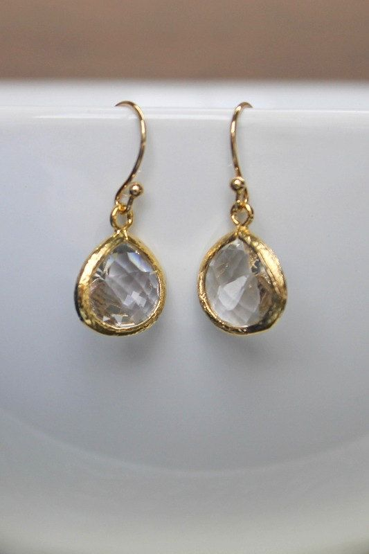 Crystal glass earrings wedding earrings by BatelBoutiqueBridal