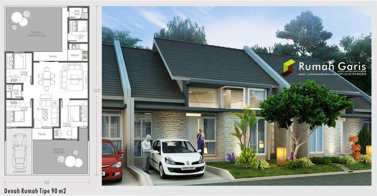 denah dan tampak rumah tipe 90 m2 dengan konsep modern tropis pada tanah kapling ukuran 9x18 jasa arsitek dan interior online email kami: ardimanye@yahoo.com