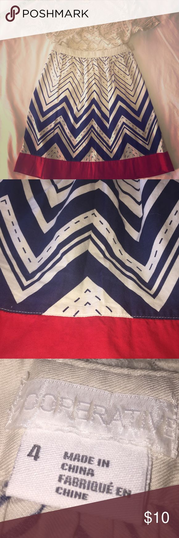 Urban Outfitters Nautical skirt U.O. Cooperative brand skirt beautifully constructed. Red blue and Ivory 100% cotton from urban outfitters.   The only flaw is the missing button Urban Outfitters Skirts A-Line or Full