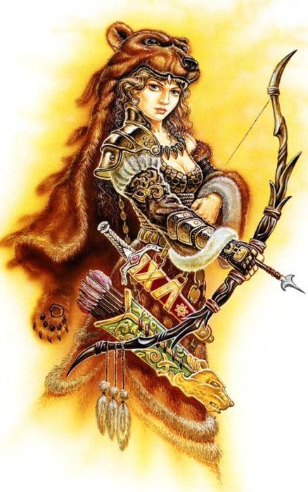 Dziewanna, Devana, Dzievana, Zievonia, Dživica, Dzieva, Zewana.  Slavic goddess of nature, forest  and hunt, spring. Niewykluczone, że Dziewanna i Marzanna mogły być dwoma obliczami jednej bogini, pani życia i śmierci zarazem; wskazywać mogą na to podobne analogie w innych indoeuropejskich wierzeniach (jak Kora-Persefona ), jednak brak danych źródłowych uniemożliwia wyciąganie takich wniosków. (my transl: Dziewanna and Marzanna could be the life-spring/death-winter sides of one Goddess.