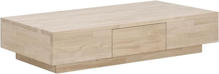 Salontafel True is een eigentijds meubel, geheel vervaardigd uit massief eiken. Het blanke hout geeft een frisse uitstraling, en is verdeeld over korte stroken, wat het eigentijdse ontwerp nog eens benadrukt. Het bijzondere onderstel geeft salontafel True een zwevende uitstraling. True heeft een handige lade en is met zijn maat van 140x70cm geschikt voor elke zithoek.