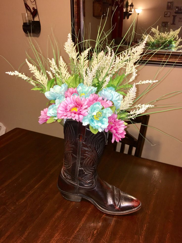 Cowboy boot flower bouquet for cowgirl or horse birthday party