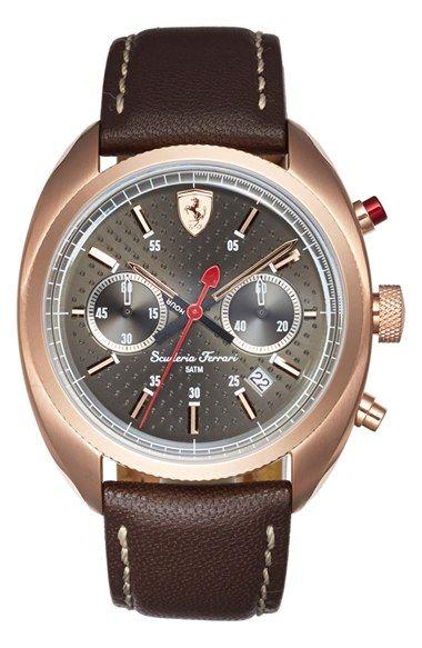 Men's Scuderia Ferrari 'Formula Sportiva' Chronograph Leather Strap Watch
