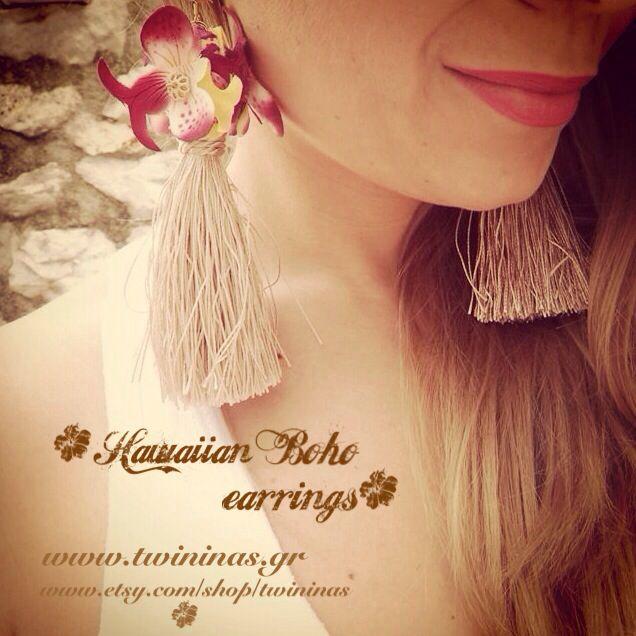 Hawaiian Boho handmade earrings by twininas http://www.etsy.com/shop/twininas  http://www.twininas.gr/