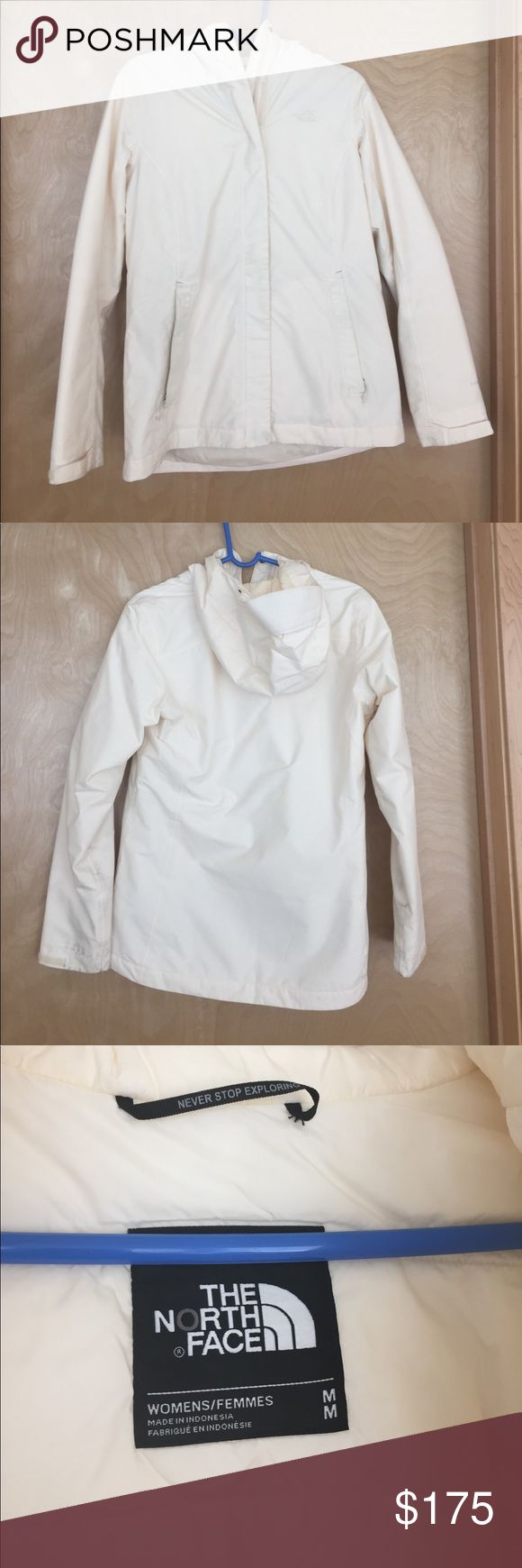 Women's north face Hyvent winter jacket Women's north face size medium Hyvent winter jacket. Color is a really pretty off white/ivory. This is the perfect jacket for the beginning/ends of winter in Wisconsin. It would probably be perfect for all winter months in the warmer states. There are areas of discoloration as shown in the photos. The discoloration on the inside of the jacket is from my dark wash jeans. I am confident that some of the marks would most definitely come out in the wash…