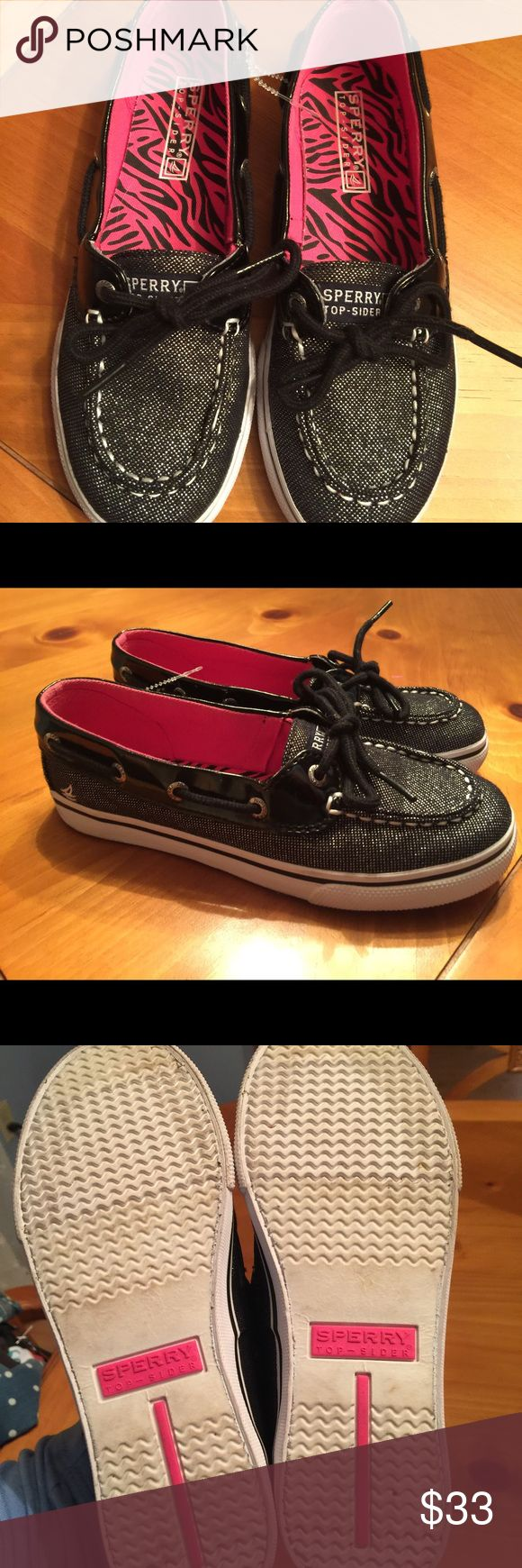 Youth Girls Sperry Top-Sider Shoes 2M  EUC Youth Girls Sperry Top-Sider Shoes 2M  Black & Sparkly Silver  Like new! Sperry Top-Sider Shoes
