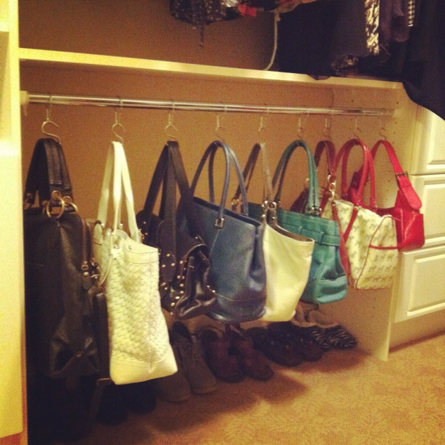 DYI- if you have enough hanging space, here is a great way to store and showcase your purse collection.  Inexpensive shower rings and S-hooks from hardware store will maintain each shape of the precious purses.
