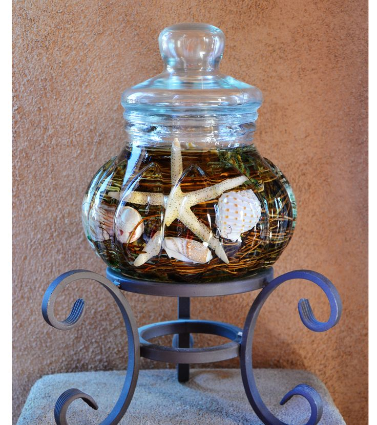 Seashell Centerpiece Lifetime Candle | Turquoise Butterfly