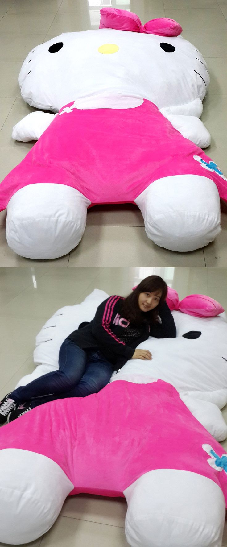 Snuggle softly to sleep with Japan's famous feline on this gigantic Hello Kitty bed. Made only with the softest and delicate fabric materials, this novelty sized plush is super comfortable and comes with a removable liner for an easy wash.         I want to make a giant Puppycat like this!!
