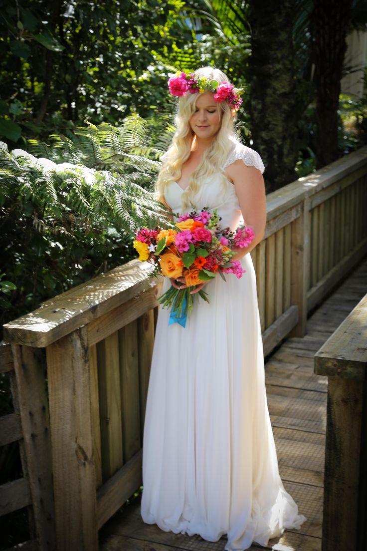 Boho wedding dress www.sallyeagle.co.nz and bespoke bouquet www.honeysucklerose.co.nz