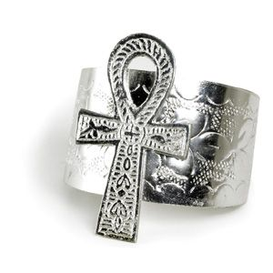 """Giant and impressive 3"""" Ankh pendant on Silver Cuff. This popular symbol of life gives you the style that sets you apart."""