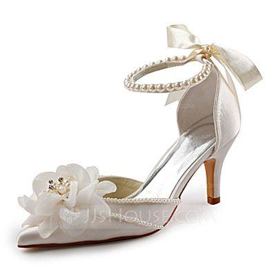 Women's Closed Toe Pumps Stiletto Heel Satin Imitation Pearl Wedding Shoes