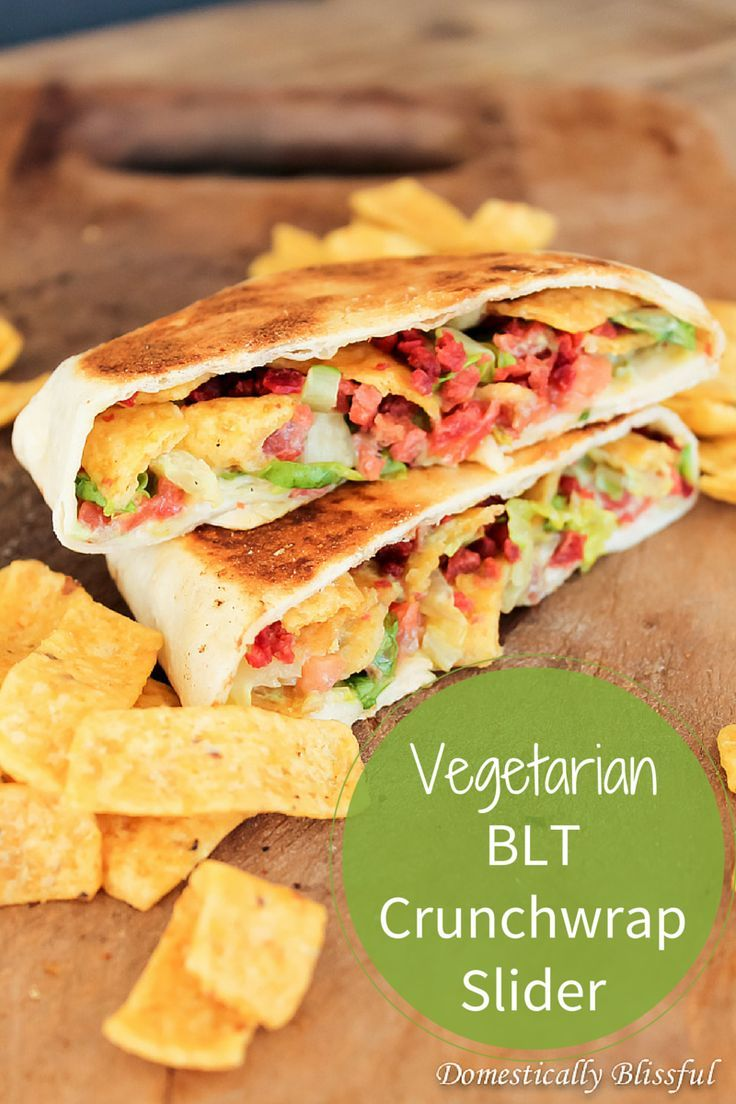 Vegetarian BLT Crunchwrap Slider with homemade Creamy Ranch Avocado Sauce.