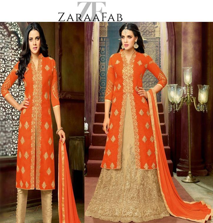 Buy latest designer lehenga style salwar kameez and suits online at ZaraaFab UK. Purchase your favourite brand of womens stylish salwar kameez. #salwarkameez #suits #anarkalisuit #partywear #stylish #lehengastyle