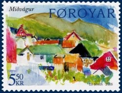 This 2005 stamp of the Faroe Islands is a typical example of modern stamp design: minimal text, intense color, artistic rendering of a country-specific subject.