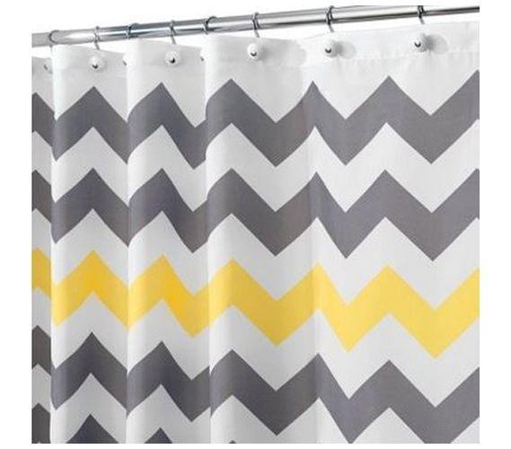 Chevron Gray Yellow Shower Curtain Yellow Shower Curtains