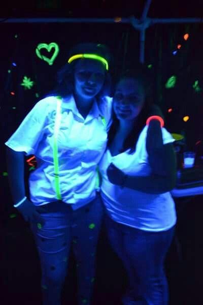 White dots on denim green brace an glow in the dark sticks
