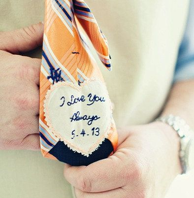 Custom Hand Embroidered Groom Tie Patch. Groom Gift from Bride. Embroidered by sewhappygirls, $35.00