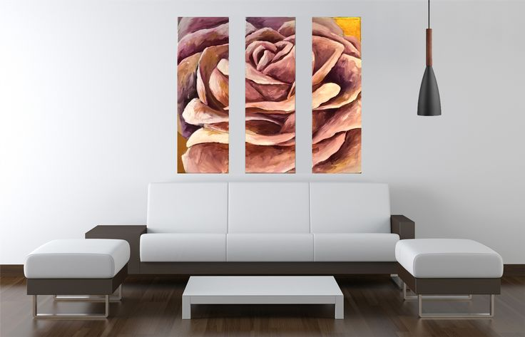 60x60 cm Rose 3piece abstract flower painting, acrylic on canvas by Maryam B Kovanen.