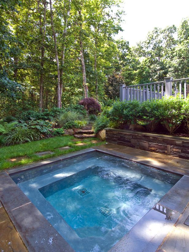 Couple Outdoor Pool in Relaxing yet Serene Sense: Private Yet Romantic Hot Tub For Two With Architectural Seating Unit Completed With Relaxi...