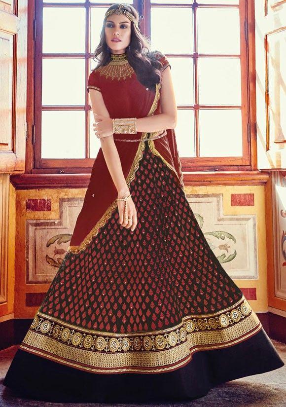 Majestic Maroon and Black #Designer #Anarkali Suit