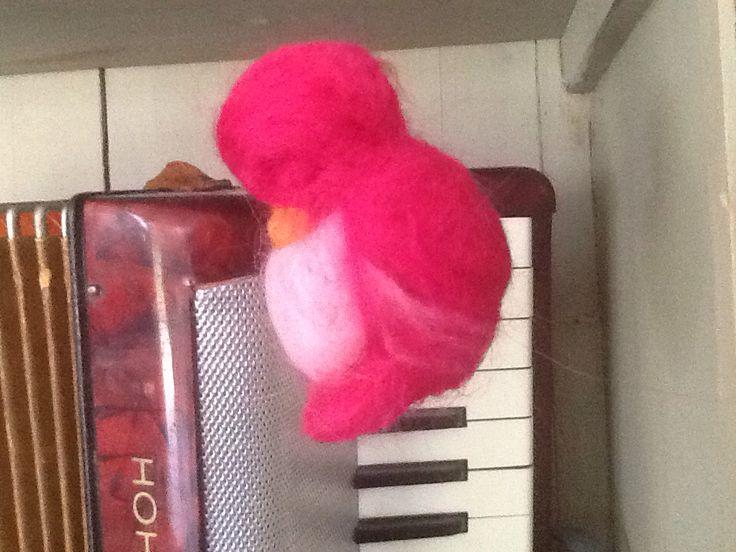 Sleeping felt bird