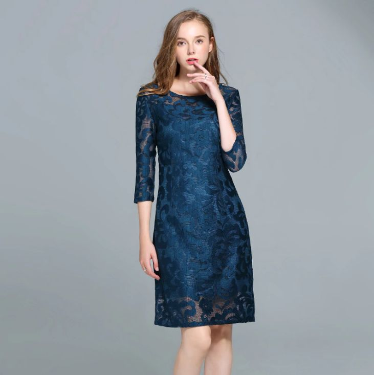 0b2336acddbea Women Royal Blue Hollow Out Lace Dress Slim Tunic Three Quarter ...