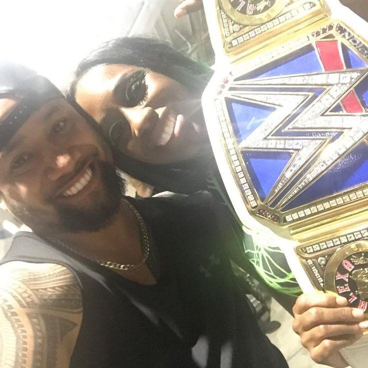 Two-time WWE Smackdown Women's Champion Naomi (Trinity McCray Fatu) celebrates with her husband Jimmy Uso (Jonathan Fatu) at WrestleMania 33 #WWE #wwecouples #WrestleMania #TotalDivas