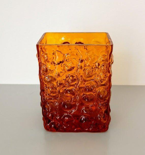 Swedish Heavy Textured Amber Glass Vase Scandinavian Interiors Decor Amber Glass Glass Vase Scandinavian Interior